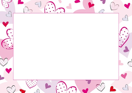Cute frame with hearts on special day Vector
