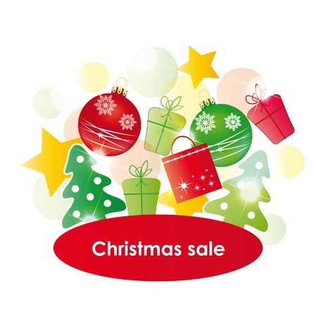 Red - green - yellow background on christmas sale Vector