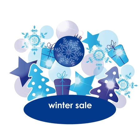 Blue - white abstract background on winter sale Vector