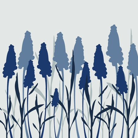 oat field: Silhouette flowers and grass in dark blue colors
