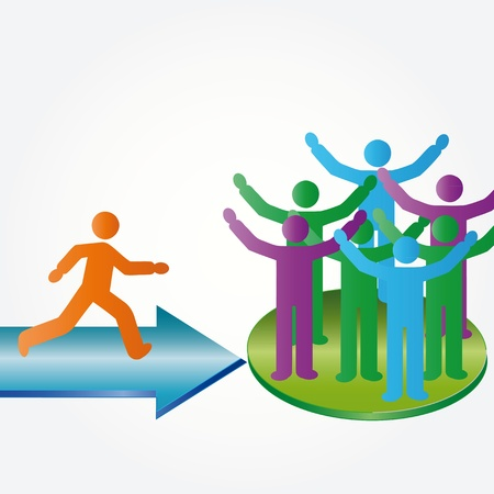 recruter: Personne rejoindre heureux groupe de personnes membres compagnie