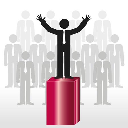 seguito: Persona di dar prova di leadership icona e team, abstract