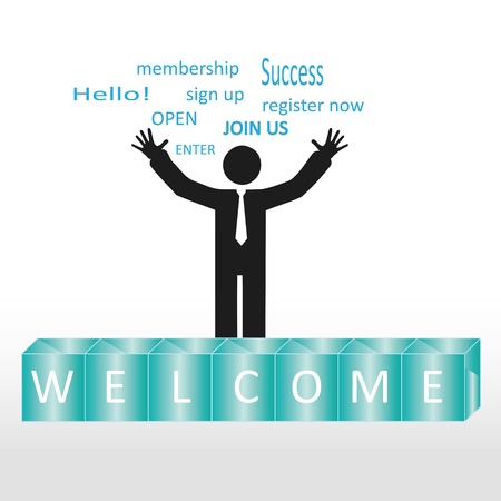 Person welcome new members group, abstract background Vector