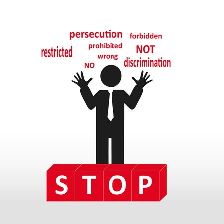 persecution: figure showing word stop- concept abstract background