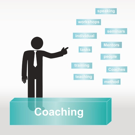 an individual: figure explain Coaching concept- concept abstract background