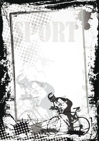 cycling helmet: Grunge sport background with bicycler, abstract background Illustration