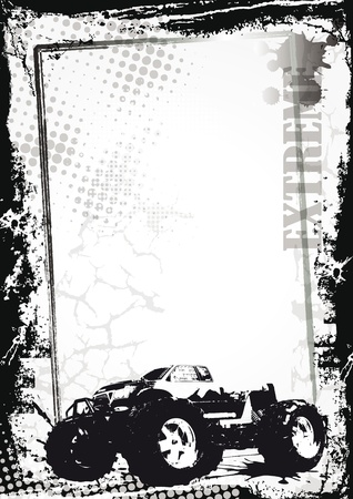 motorsport: Grunge sport background with monster truck, abstract background Illustration