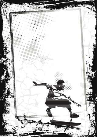 Grunge sport background with skateboard, abstract background Vector