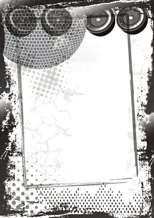 musical score: Grunge music background with frame, abstract background