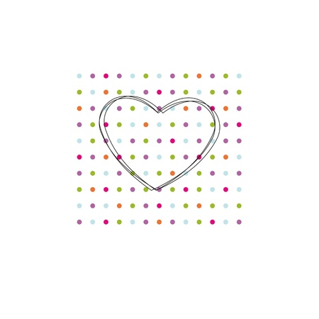 Occasion card with colorful dots and black heart Vector