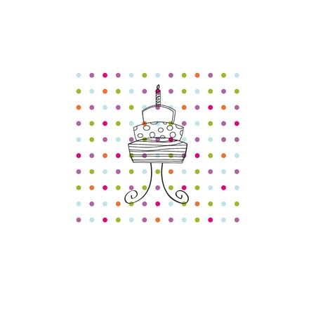 Occasion card with colorful dots and black cake Vector