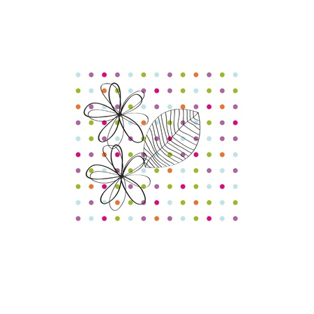 garden party: Occasion card with colorful dots and black flowers Illustration