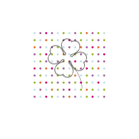cartoon shamrock: Occasion card with colorful dots and black shamrock