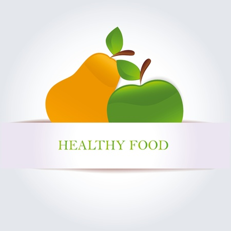 Green apple and pears as organic and healthy food symbol Vector