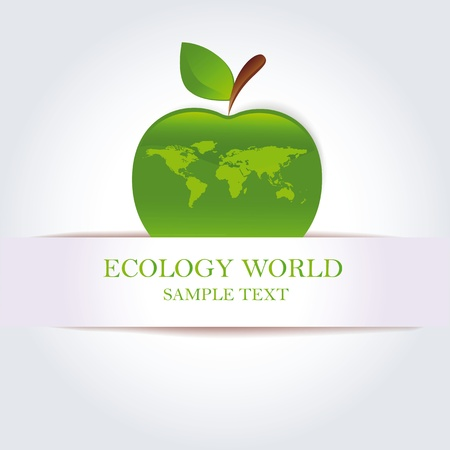 the natural world: Green apple as ecology and clean world symbol Illustration