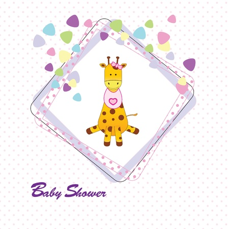 giraffe frame: Cute and colorful baby invitation on baby shower
