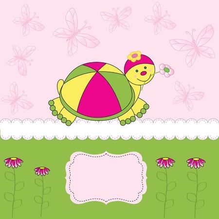 ocassion: Cute kids card on birthday or shower Illustration