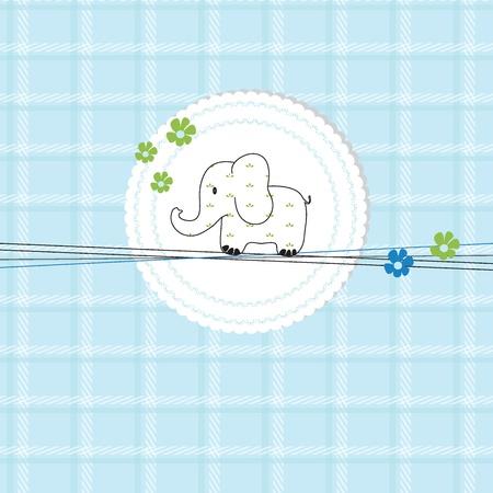 elefante cartoon: Ni�os linda tarjeta de cumplea�os o una ducha