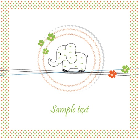 toy elephant: Cute baby card on birthday or shower