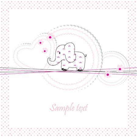 Cute baby card on birthday or shower Vector