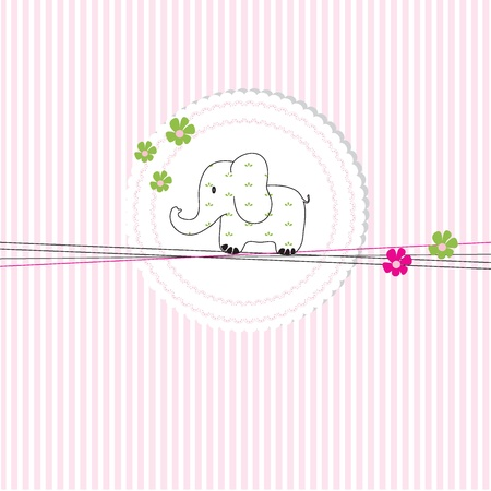 Cute baby card on birthday or shower Vector