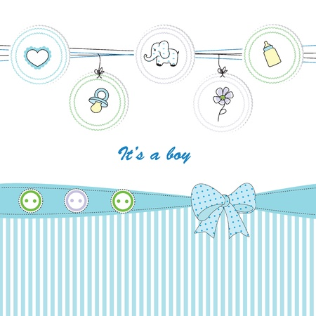 baby boy shower: Cute baby background on birthday or shower Illustration