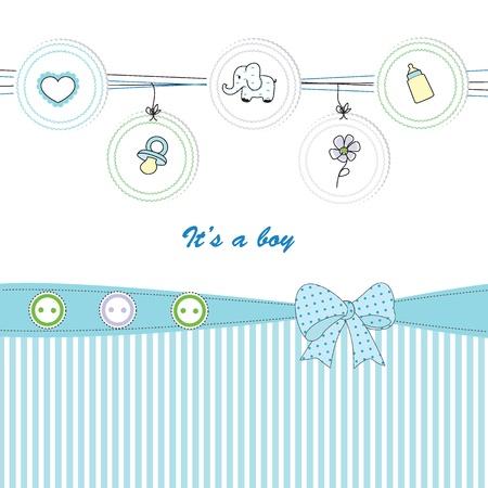 teteros: Fondo lindo bebé en el cumpleaños o la ducha Vectores