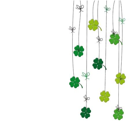 flores de cumpleaños: Tarjeta linda con trébol de cuatro hojas en st. Tiempos de Patricio Vectores