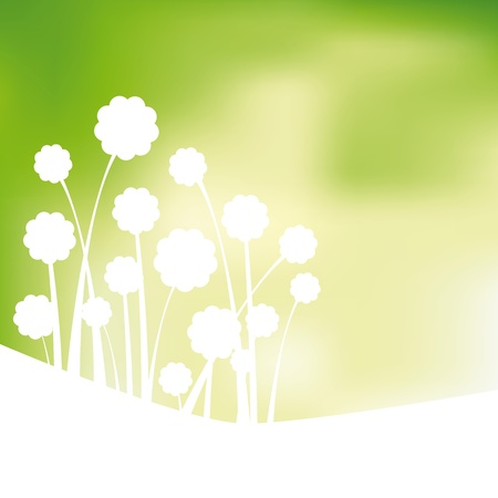 conviviale: Design fond vert, des fleurs abstraites