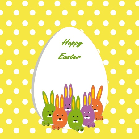 Easter colorful card with rabbits Stock Vector - 11897660