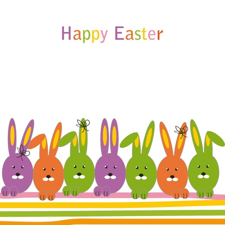 Easter colorful card with rabbits Stock Vector - 11972637