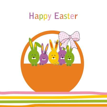 Easter colorful card with rabbits Stock Vector - 11972642