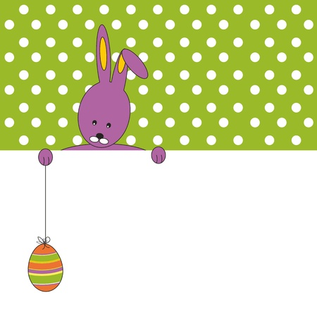 Easter colorful card with rabbit and egg Vector
