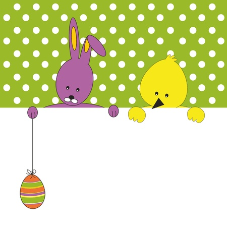 Easter colorful card with rabbit and chicken