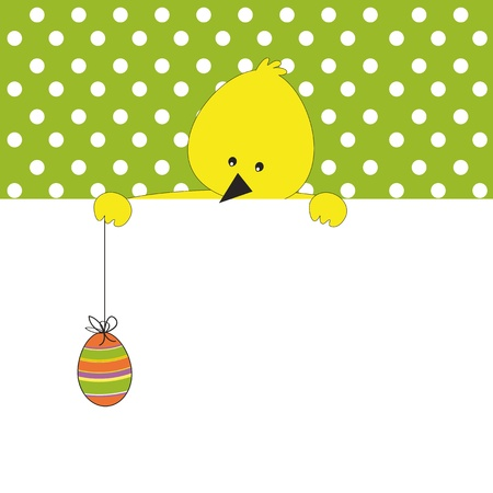 duck egg: Easter colorful card with chicken Illustration