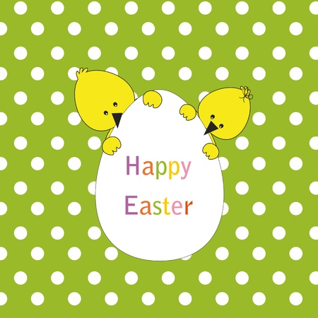 Easter colorful card with chickens Vector