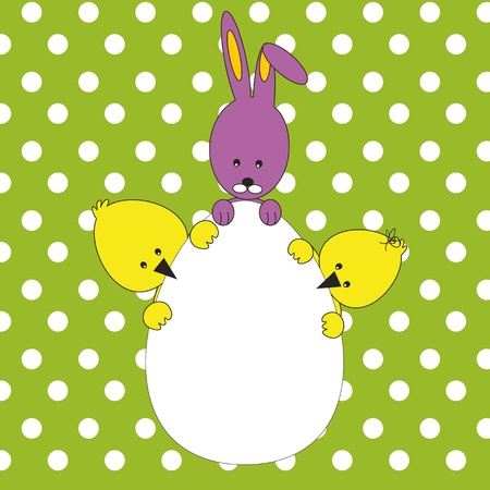 Easter colorful card with rabbit and chickens Vector