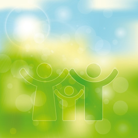 Green and blue light abstract background with family icon Vector