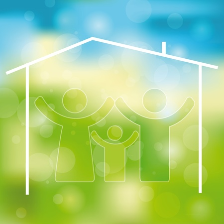 green house effect: Green and blue light abstract background with family icon Illustration