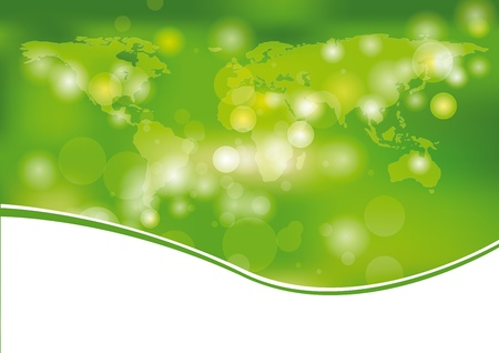 Green and light abstract background with world Vector