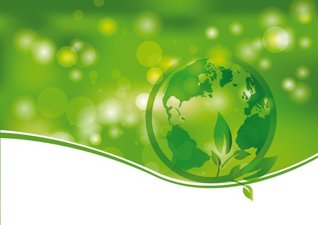 earth space: Green and light abstract background with world Illustration