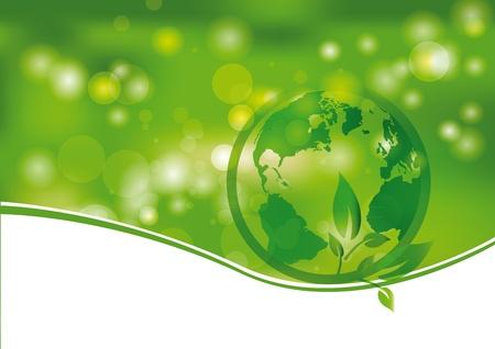 Vert et la lumière fond abstrait avec le monde Illustration