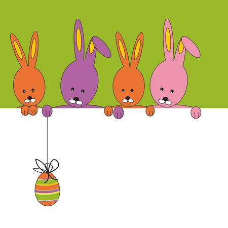 Easter colorful card with rabbit and egg
