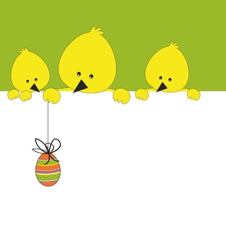 Wielkanoc kolorowe karty z kurczakiem i jajkiem