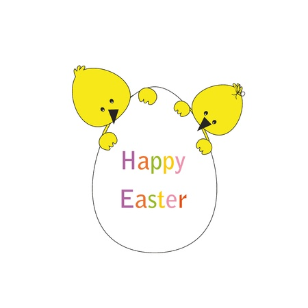 Easter colorful card with chickens and egg Vector