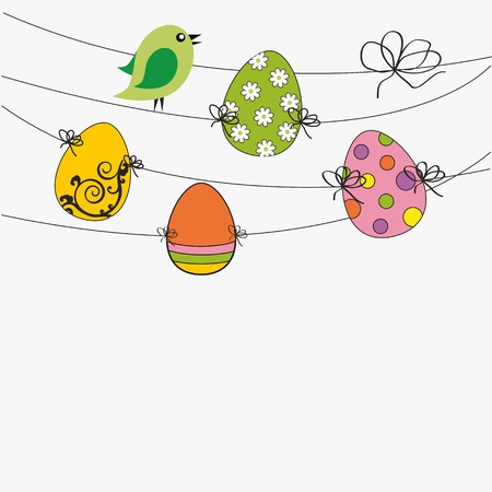 Easter colorful card with birds and eggs