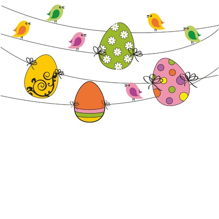 Easter colorful card with birds and eggs Stock Vector - 12293075