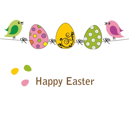 easter decorations: Easter colorful card with birds and eggs