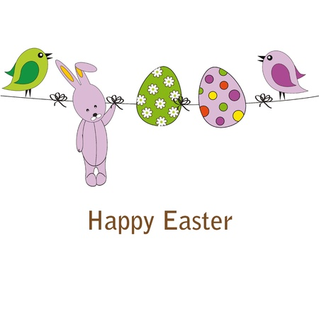 Easter colorful card with birds, rabbit and eggs Vector