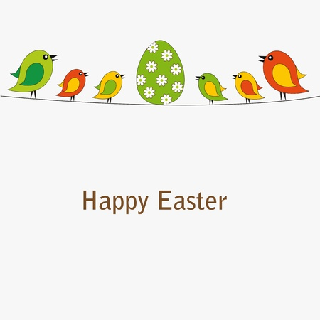 Easter colorful card with birds and egg Vector